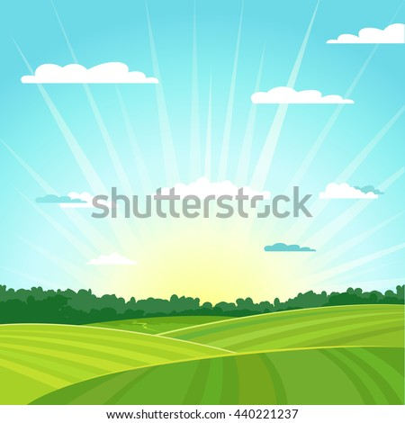 Natural country summer landscape background. Sunrise. Vector illustration. - stock vector