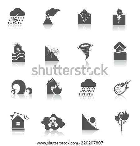 Natural disaster environmental catastrophe icons black set isolated vector illustration - stock vector