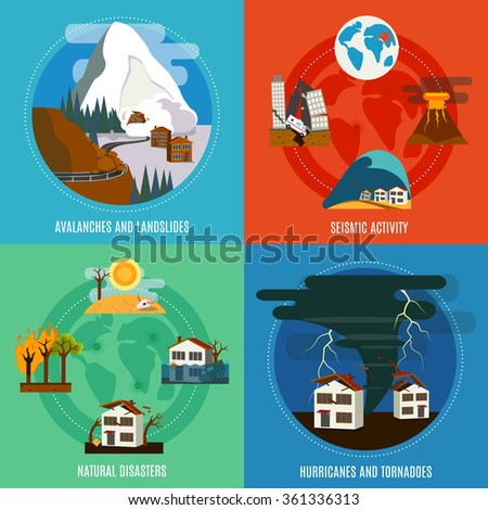Natural Disaster 4 flat icons square banner with seismic activity hurricanes and tornadoes abstract isolated vector illustration - stock vector