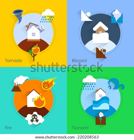Natural disaster flat set with tornado blizzard fire tsunami isolated vector illustration - stock vector