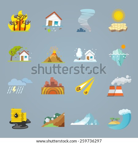 Natural disaster icons flat set with hurricane tornado forest fire isolated vector illustration - stock vector