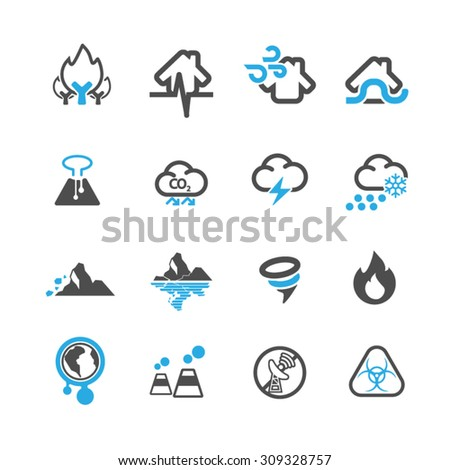 Natural disaster icons set,Vector - stock vector