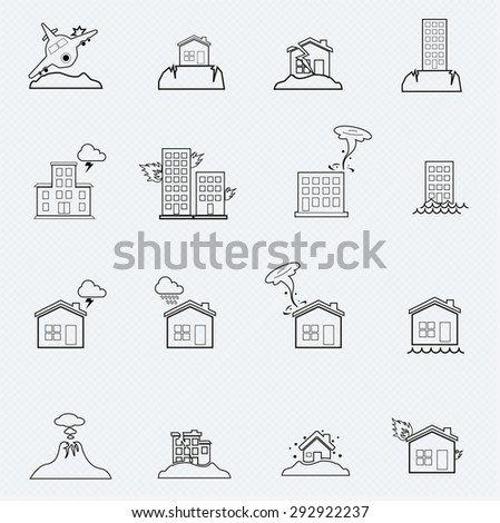 Natural Disaster line Icon Set - stock vector