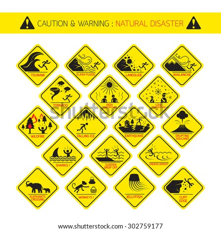 Natural Disaster Warning Signs, Caution, Danger, Hazard Symbol Set - stock vector