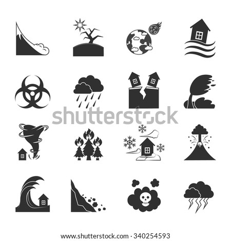 Natural disasters and negative effects icons set drawn in black and white flat style isolated vector illustration - stock vector