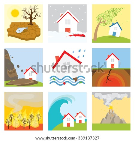 Natural disasters : Drought, snow storm, wind, tornado, landslide, flood, earthquake, fire, tsunami, volcano eruption - stock vector