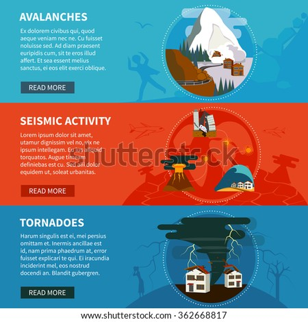 Natural disasters flat horizontal banners set with avalanches seismic activity and tornadoes vector illustration - stock vector