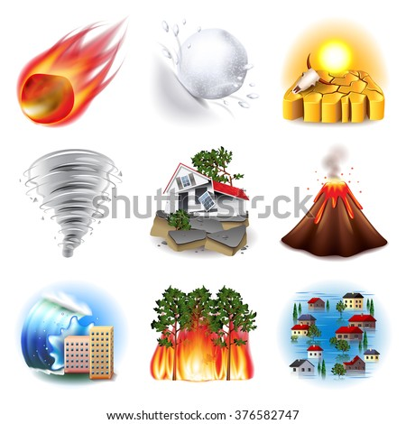 Natural disasters icons photo realistic vector set - stock vector