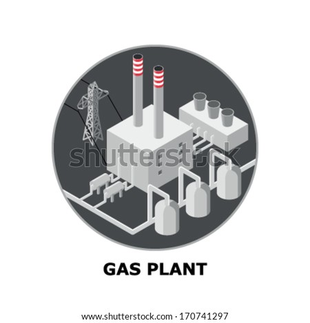 Natural Gas Plant, Non-Renewable Energy Sources - Part 2 - stock vector