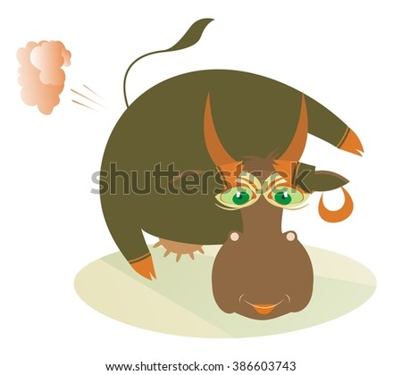 Natural gas. Smiling cow breaking wind - stock vector