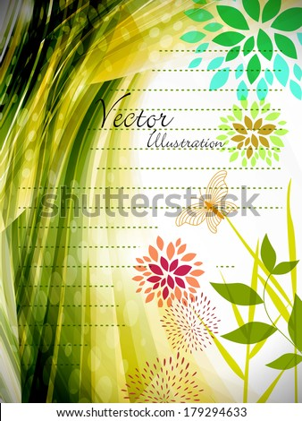 natural green spring background with abstract flower - stock vector