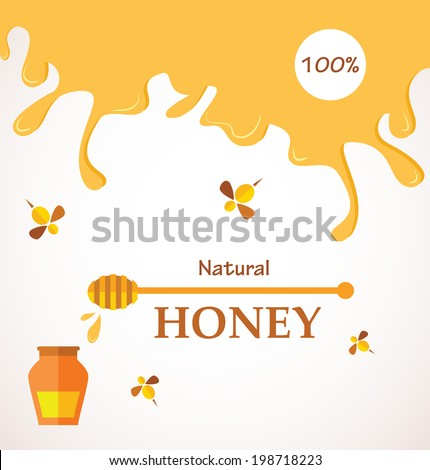 Natural honey; Honey streams, jar and bees  isolated on white  - stock vector