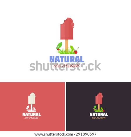 Natural Ice Cream Concept Vector Icons, Logos, Sign, Symbol Template  - stock vector