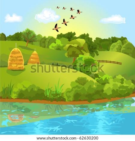 natural landscape - stock vector