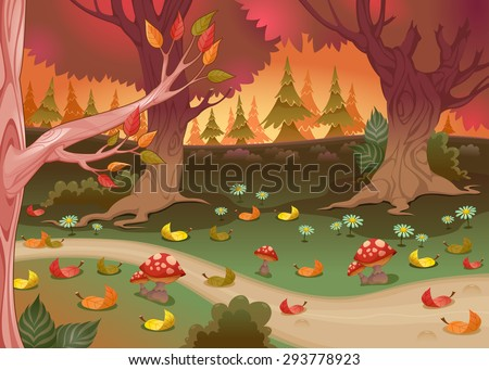 Natural landscape in the wood. Cartoon vector illustration. - stock vector