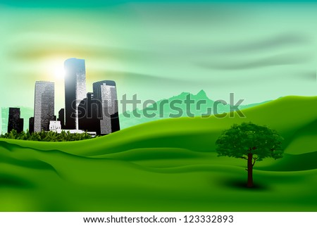 Natural landscape of the city and the green grass. concept of ecology - stock vector