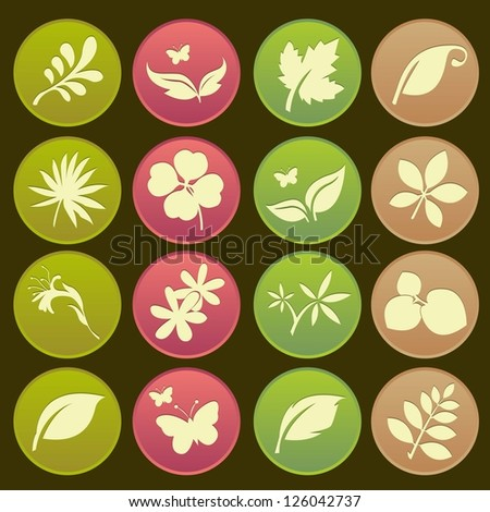 Natural leafs futuristic icon - stock vector