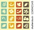Natural Leafs Icon Set - stock vector