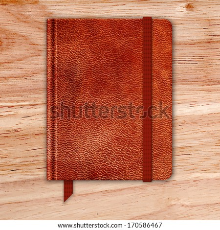 Natural Leather Notebook On A Wooden Desk. Copybook With Band And Bookmark. Vector - stock vector