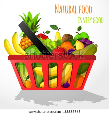Natural organic fruits in shopping basket with banana pineapple watermelon grape vector illustration - stock vector