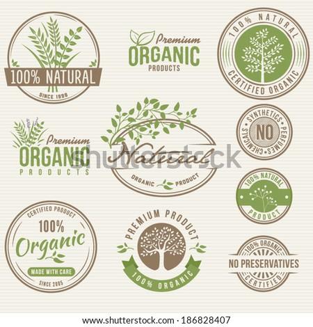Natural Organic Labels - stock vector
