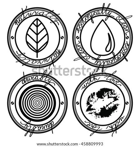 natural, organic, print, nature, vector, label, food, environment, range, quality, product, icon, design - stock vector