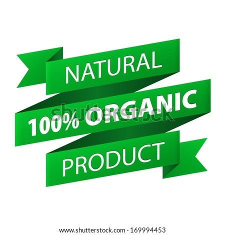 Natural  100% Organic product green ribbon banner icon isolated on white background. Vector illustration - stock vector