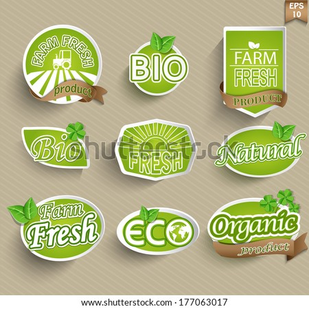 Natural organic product labels, emblems and badges. Set of design elements. - stock vector