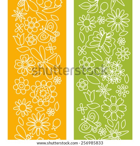 Natural pattern with beautiful simple flowers, beetles and butterflies. - stock vector