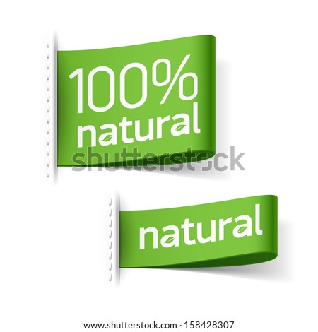 Natural product labels. Vector. - stock vector