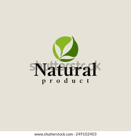 Natural product logo design vector template. Leaf icon - stock vector