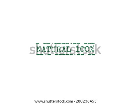 Natural 100% rubber stamp sign - stock vector