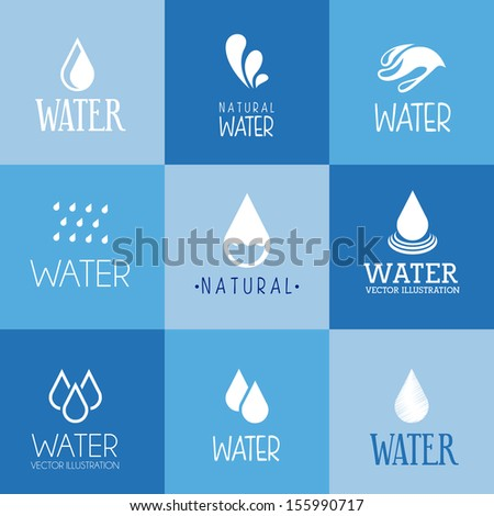 natural water over blue background vector illustration - stock vector