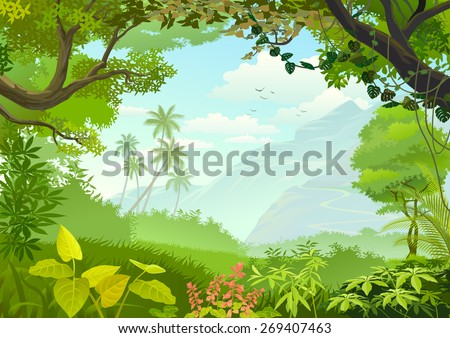 Natural window of forest  - stock vector
