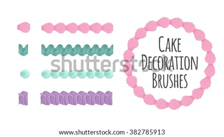Naturally coloured realistic looking butter cream icing cake and dessert seamless decoration brushes. Drag the element to brush pannel to create a pattern brush. - stock vector