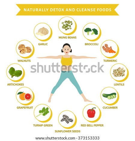 naturally detox and cleanse foods, info graphic flat food, vector - stock vector
