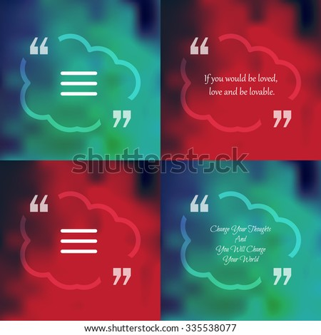 Nature and ecology template of square quote text bubble  in form of cloud. Motivation quote. Change Your Thoughts And You Will Change Your World. Vector - stock vector