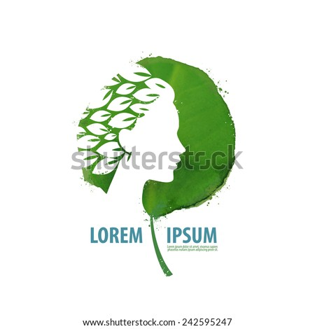 Nature and girl. Logo, icon, sign, emblem, template - stock vector
