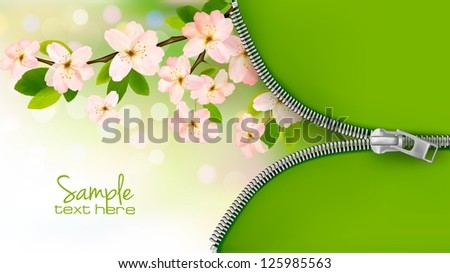 Nature background with blossoming tree brunch and spring flowers and zipper. Vector illustration. - stock vector