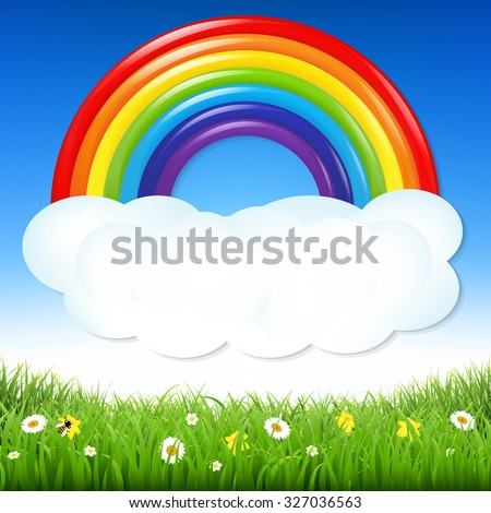 Nature Background With Grass And Rainbow With Gradient Mesh, Vector Illustration - stock vector
