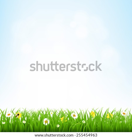 Nature Background With Grass Border With Gradient Mesh, Vector Illustration - stock vector