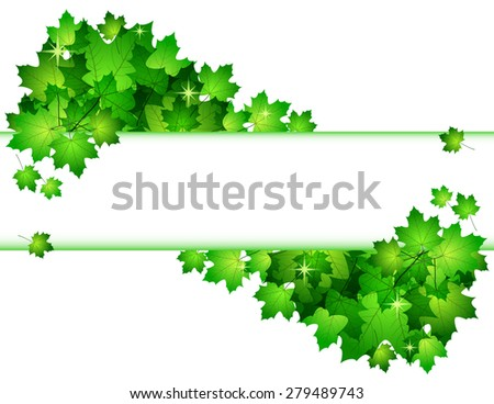 Nature background with green fresh leaves . Vector illustration. - stock vector