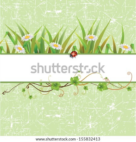 Nature background with green grass and flowers Vector. - stock vector