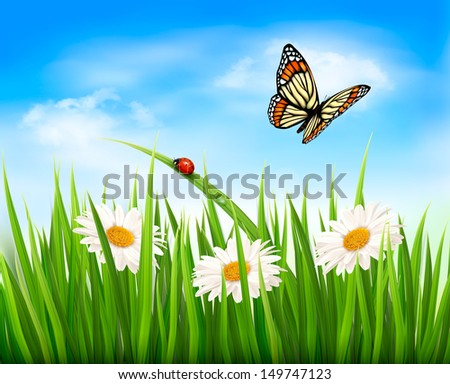 Nature background with green grass, flowers and a butterfly. Vector.  - stock vector