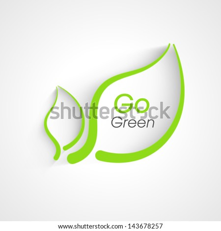 Nature background with green leafs and text go green. - stock vector