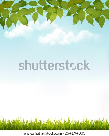 Nature background with leaves and grass. Vector. - stock vector