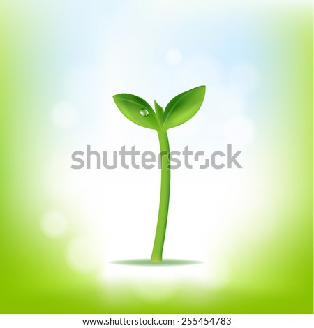 Nature Background With Plant With Gradient Mesh, Vector Illustration - stock vector