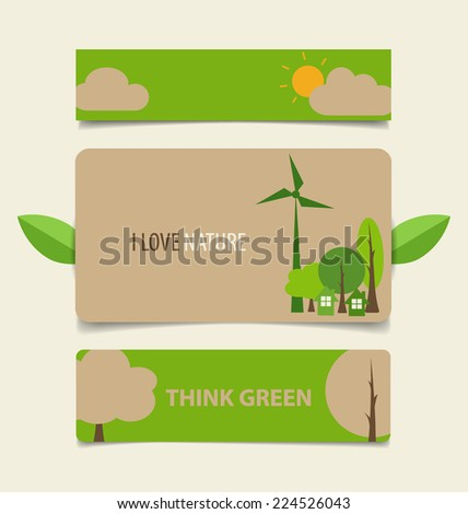 Nature banner, Eco organic labels and cards. Vector illustration. - stock vector