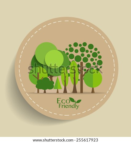 Nature banner, Eco organic labels and cards with Abstract trees. Vector illustration. - stock vector
