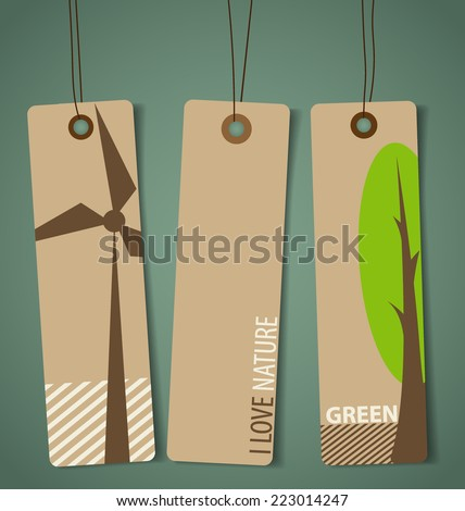 Nature banner, Eco organic labels and tags set. Vector illustration. - stock vector